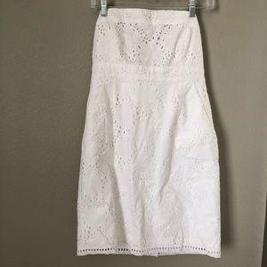 New York & Company White Lace Dress Sz 8 Strapless